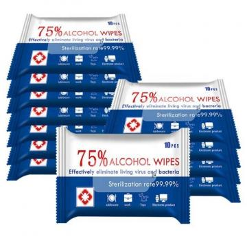 75% Custom Packaging Wholesalers Household Protective Antibacterial Disinfectant Alcohol Wet Wipes